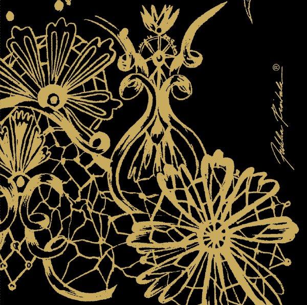 Papierservietten, Schwarz, Gold, 24 x 24 cm