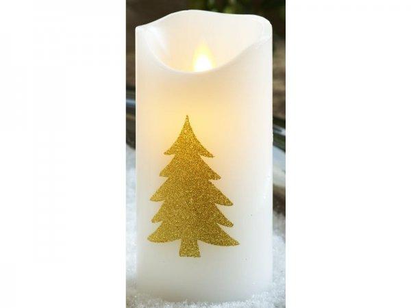 LED-Kerze Tanne, weiss, gold, echtwachs, 7,5cm x 15cm