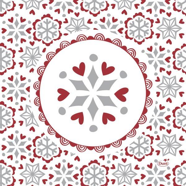 Papierservietten, Weiss, Rot, 33 x 33 cm