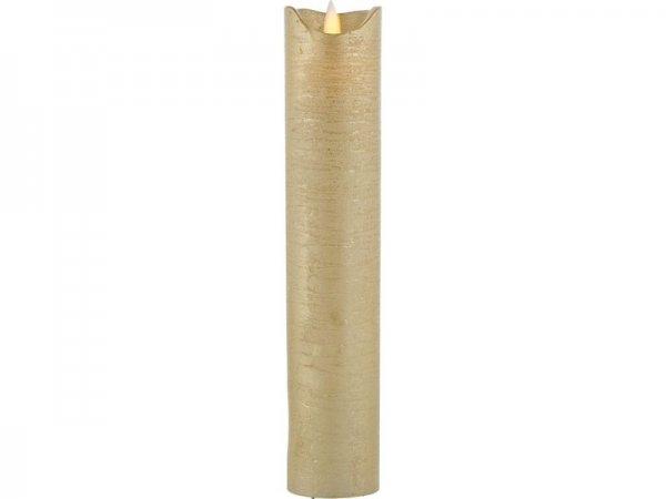 LED-Kerze, gold, echtwachs, 5cm x 25cm