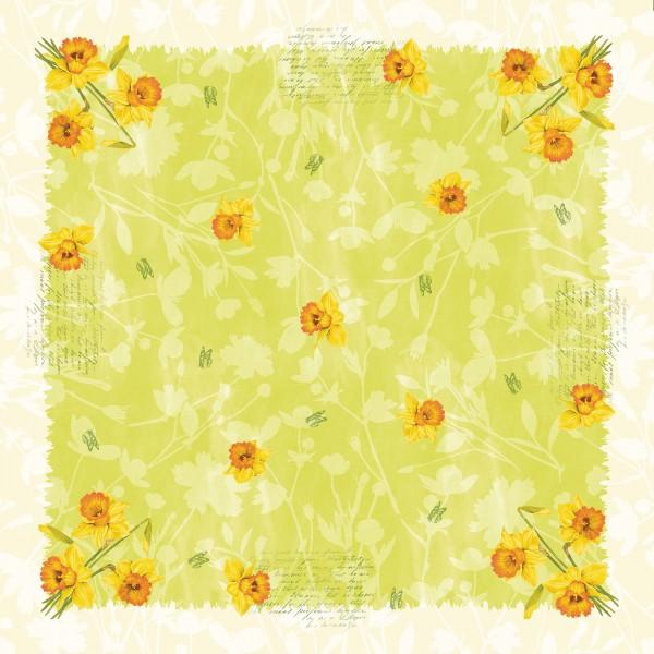 Mitteldecke Papier, Gelb, Grün, 84 x 84 cm