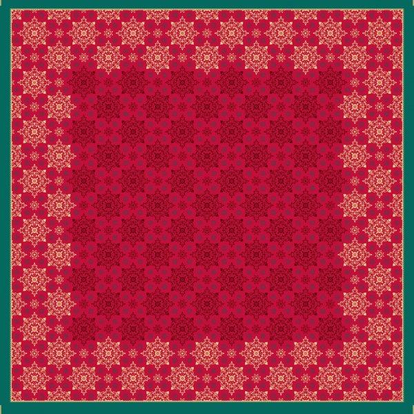 Mitteldecke, Papier, Rot, Grün, 84 x 84 cm